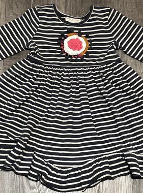 Mimi & Maggie Kayla Stripe Knit Dress, Charcoal  4T