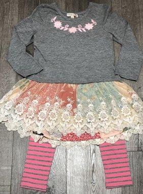 Mimi & Maggie 2339B Winter Garden Dress/Rose Legging Set, Gry