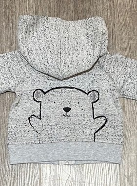 Mimi & Maggie 4083 Brown Bear Yarn Zip Hoodie, Grey