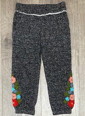 Mimi & Maggie 1364-CHR Marled Yarn Emb. Sweat Pant, Charcoal