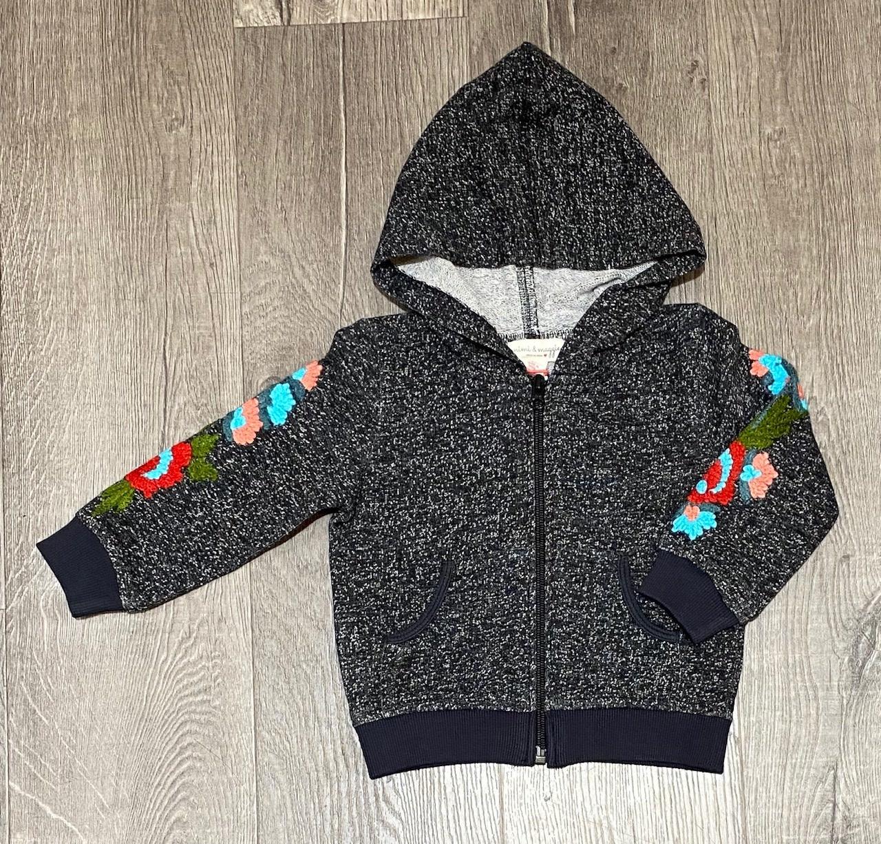 Mimi & Maggie 4086-CHR Marled Yarn Emb Zip Front Hoodie, Charcoal