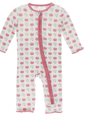 Kickee Pants Muffin Ruffle Coverall  Zipper- Natural Apples