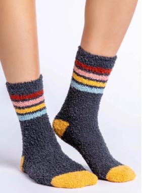 Pj Salvage Fun Socks Charcoal Stripe
