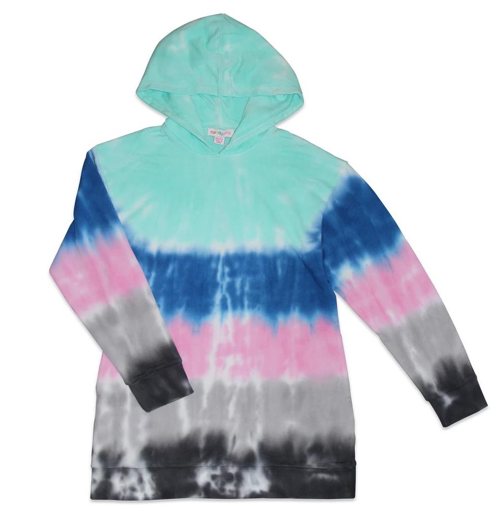 Candy Pink W20352 Aqua Stripe Tie Dye Hoodie Dress