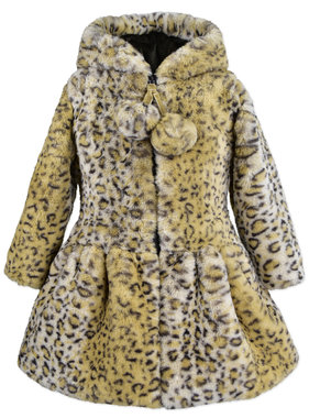 American Widgeon 3632T-LPC Hooded Zip PomPom Coat, Leopard