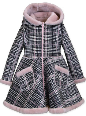 American Widgeon 4140-FSPL Circle Skirt Coat, Plaid Faux Suede