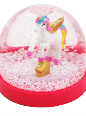 Pink Poppy Cotton Candy Unicorn Acrylic Snow Globe