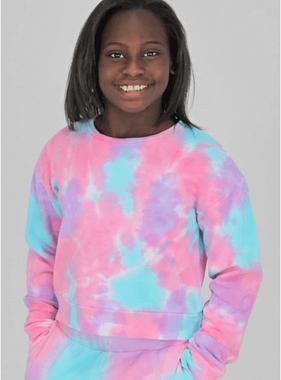 Candy Pink W20323 Lilac Sorbet Tie Dye Cropped Sweatshirt