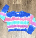 Candy Pink W20326 Marine Stripe Tie Dye Cropped Sweatshirt