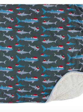 Kickee Pants Print Sherpa Lined Toddler Blanket, Pewter Santa Sharks