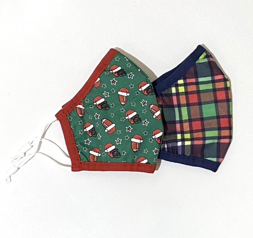 Face Mask AE Holiday Face Mask Navy Plaid/Football YOUTH