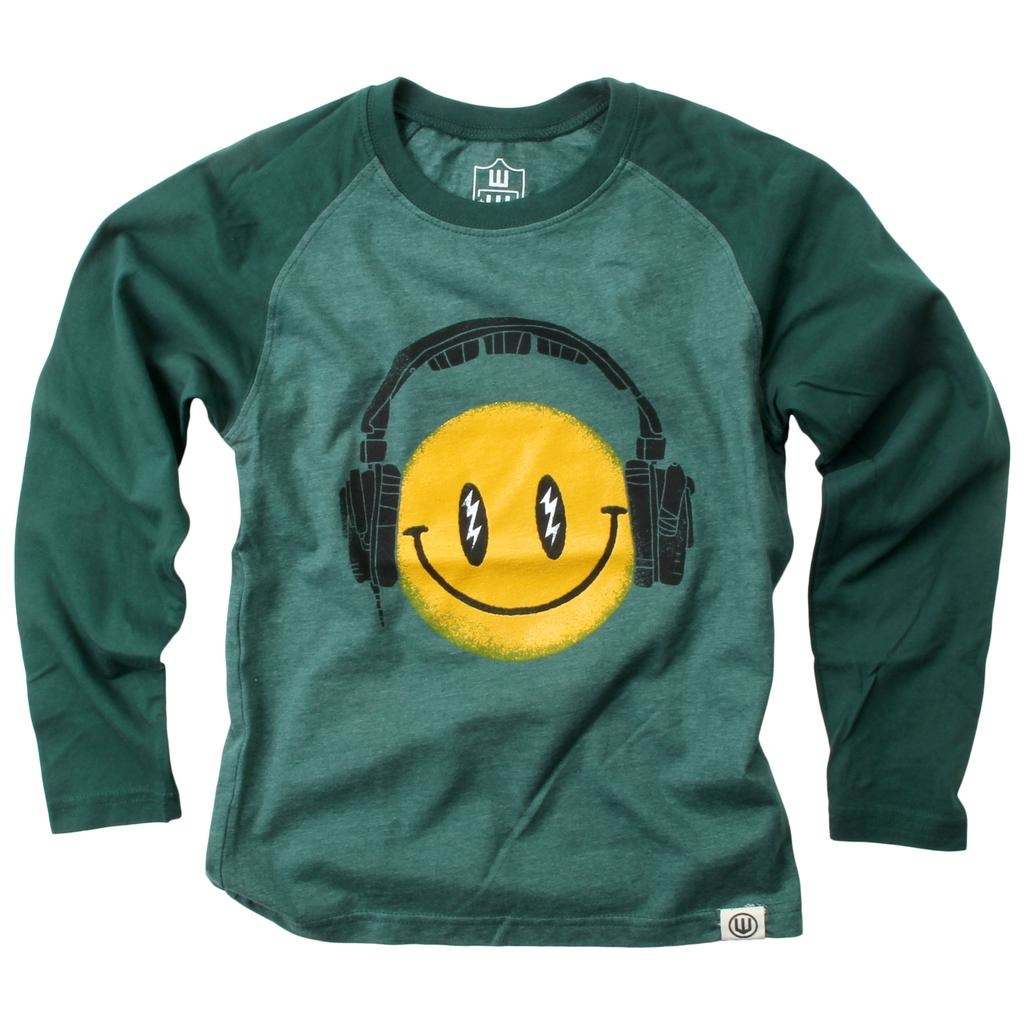 Wes And Willy Headphone Smiley LS Raglan Evergreen