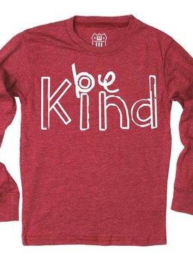 Wes And Willy 7672-1201 Be Kind LS Top, Bullseye Red