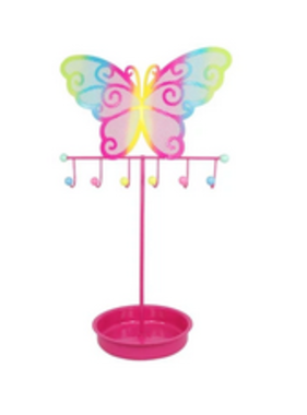 Pink Poppy Colorful Butterfly Jewelry Stand - Hpink
