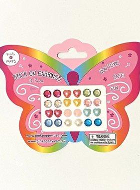 Pink Poppy Blossom Stick On Earrings - 12 Pair