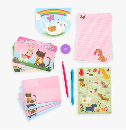 Ooly 138-010 On-The-Go Travel Stationery Kit: Paw Pals