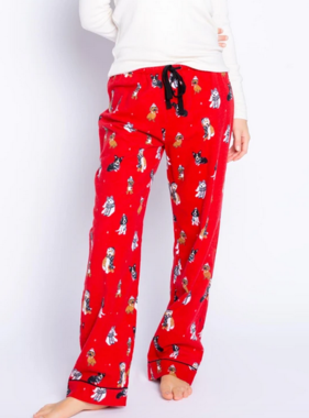 Pj Salvage Happy Howlidays Flannel Pant, Red