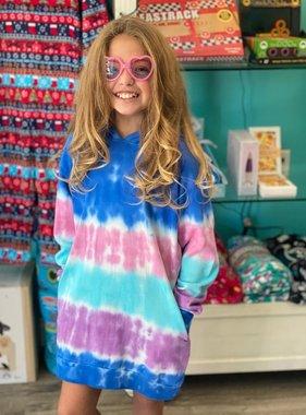 Candy Pink W20354 Marine Stripe Tie Dye Hoodie Dress
