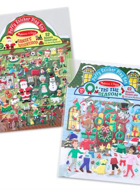 Melissa & Doug Puffy Stickers Santa Workshop/Tis the Season