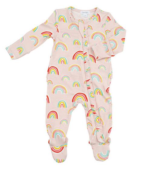 Angel Dear 128F0RAP4 Rainbow Ruffle Zipper Footie
