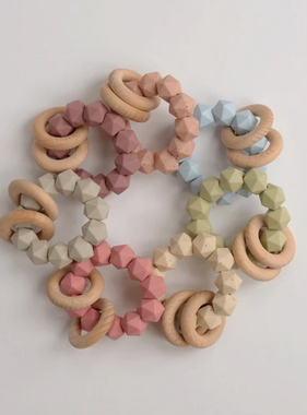 Three Hearts Abby Teething Rattle