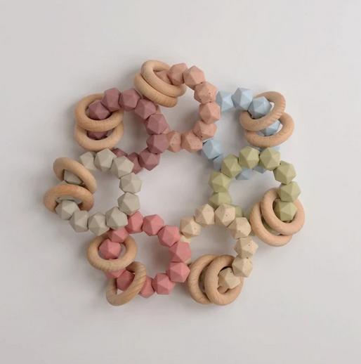Three Hearts Abby Beech Wood/Silicone Teething Rattle