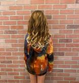 Tru Luv C-Tie Dye Thermal Hoodie Pullover/Shorts Set Nv/Rd/Mu