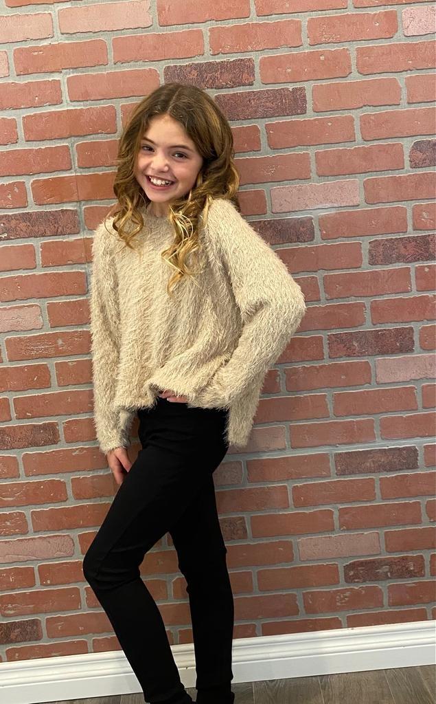 Tru Luv C-Long Sleeve Shaggy Pullover Oatmeal