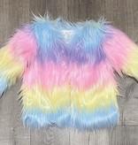 Little Mass C-Pastel Rainbow Fur Jacket