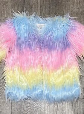 Little Mass C-Pastel Rainbow Fur Jacket