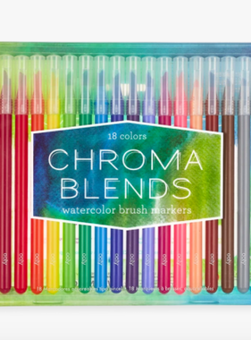Ooly 130-057 Chroma Blends Watercolor Brush Markers Set of 18