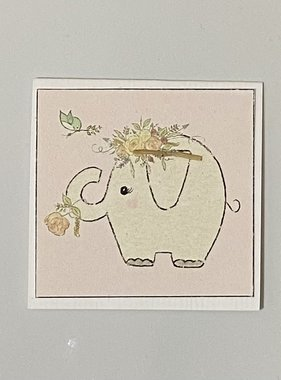 Greeting Cards Enclosure Card - Elephant Pink