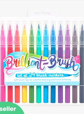 Ooly 130-069 Brilliant Brush Markers-Set of 24