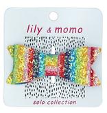 Lily & Momo Glitter Bow Hair clip-Rainbow