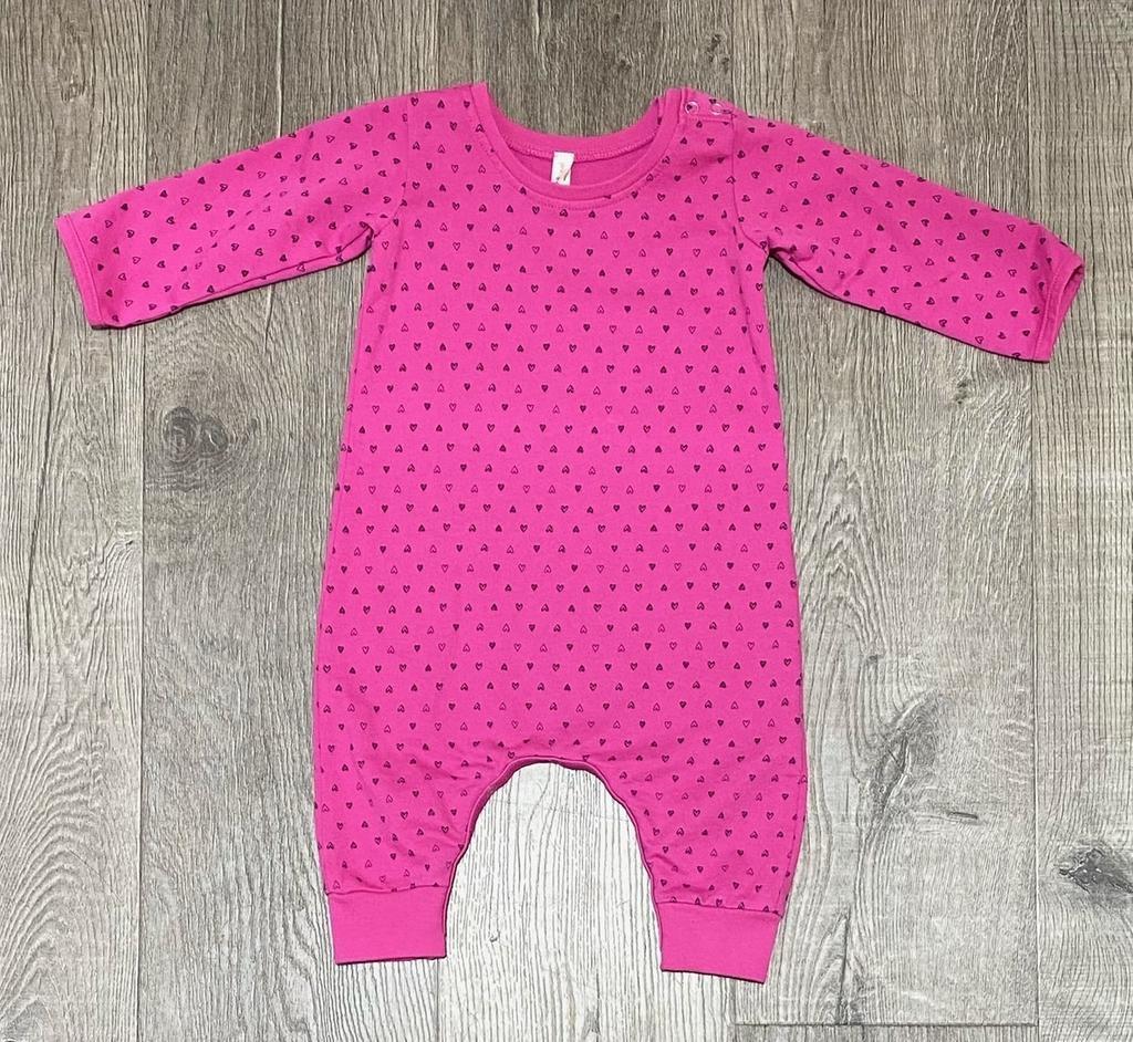 Pink Peony L/S Romper-Confetti Heart Hot Pink