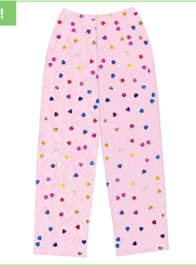 Iscream 820-1438 Colorful Foil Hearts Front Patch Pocket Plush Pants