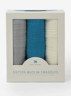 Little Unicorn Cotton Muslin Swaddle 3 Pack-Lake Set