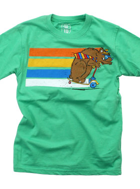 Wes And Willy Scooter Bear SS Tee - Clover