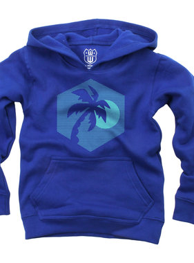 Wes And Willy Palm Tree Fleece Hoodie - Blue Moon