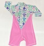 coolies LS Zip Up Rashies, Pink Moana