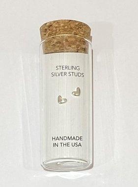 Little Miss Zoe Stud Earrings In A Bottle - Silver Heart