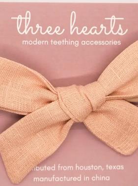 Three Hearts Hazel Headband Bow - Dusty Pink