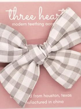 Three Hearts Hazel Headband Bow - Grey Plaid