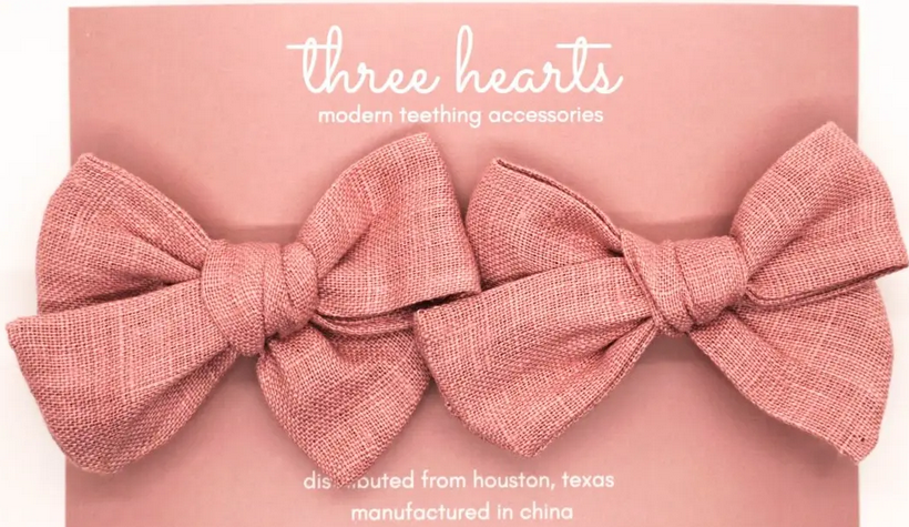Three Hearts Enzliegh Clip/ Bow Set - Mauve