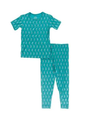 Kickee Pants Print Short Sleeve Pajama Set Neptune MiniSeahorses