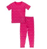 Kickee Pants Print Short Sleeve Pajama Set Prickly Pear Mini Seahorses