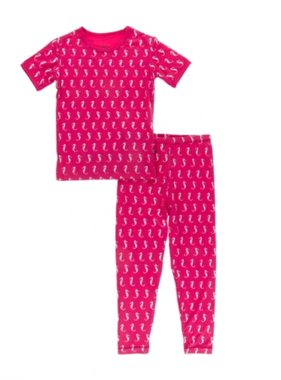 Kickee Pants Print Short Sleeve Pajama Set Prickly Pear Mini Seahorses