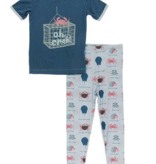 Kickee Pants Short Sleeve Graphic Tee Pajama Set Dew Crab