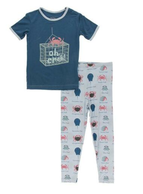 Kickee Pants Short Sleeve Graphic Tee Pajama Set-Dew Crab Types