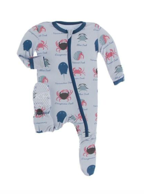 Kickee Pants Print Footie with Zipper Dew Crab Types
